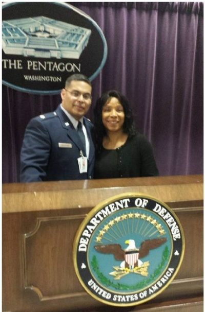 Cousin Major Daniel R Woodford and wife Cynthia at the Pentagon-400px.jpg