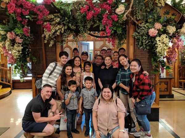Joy Bartolome with her extended family in the Philippines for the first time in 8 years.