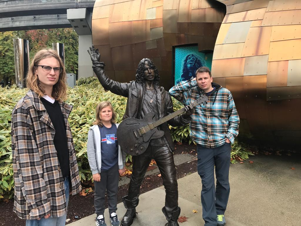 Tom and his family at Seattle's Experience Music Project (EMP).