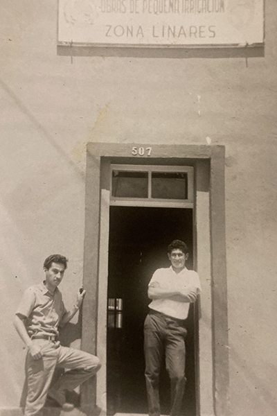 Claudia Gomez's father (right) in Mexico, before moving to America.