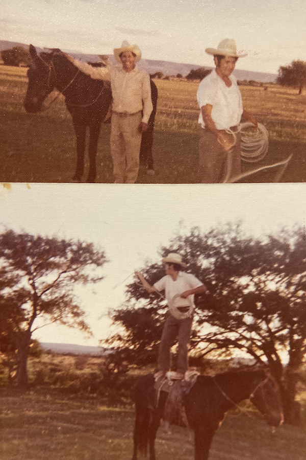 Claudia Gomez's father on the Gomez family ranch in Mexico, standing on a horse.
