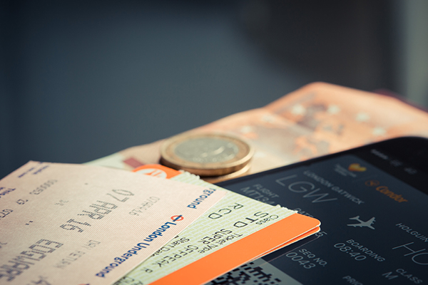 A stack of travel tickets.