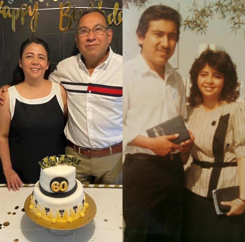 Ana's parents, Jose and Elda Linares, then and now.