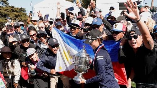Photo of  Yuka Saso winning the U.S. Women's Open in golf