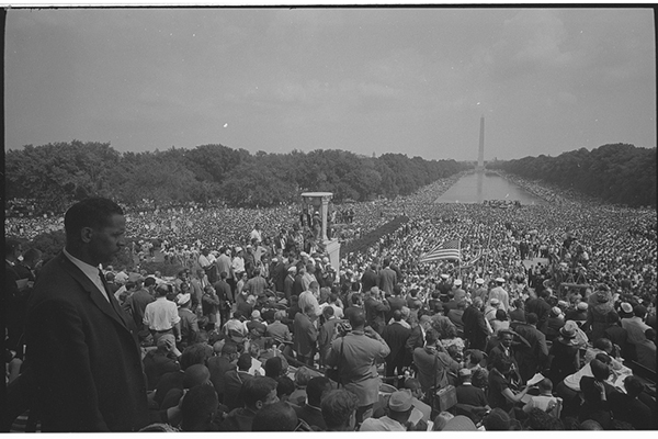 View of the crowd from the Lincoln Memorial during the March on Washington, D.C. in 1963.