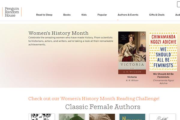 Penguin Random House Women's History Month website screenshot.