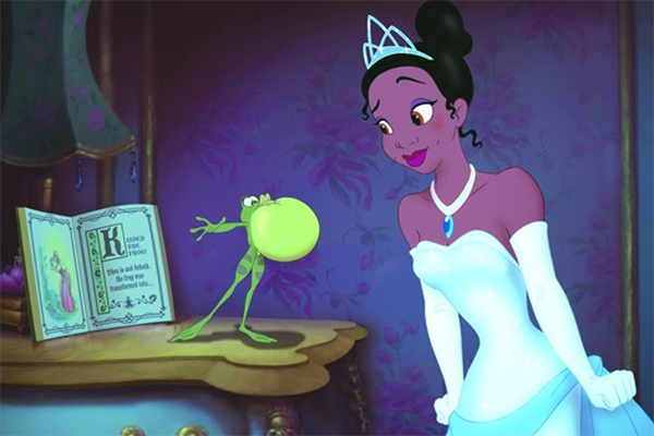 A scene from Disney's The Princess and the Frog of Tiana and Naveen (as a frog).