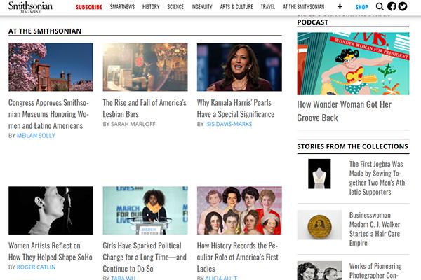 Smithsonian Magazine Women Who Shaped History website screenshot.
