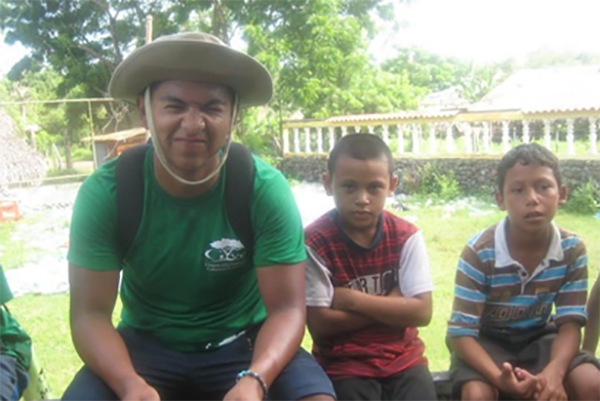 Danny Soltero with two kids in Nicaragua.