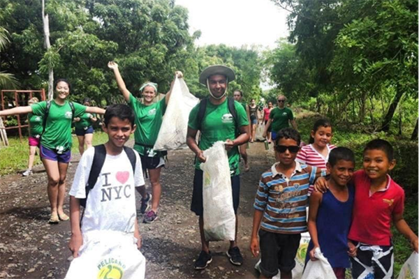 Danny and his volunteer group in Nicaragua with local kids.
