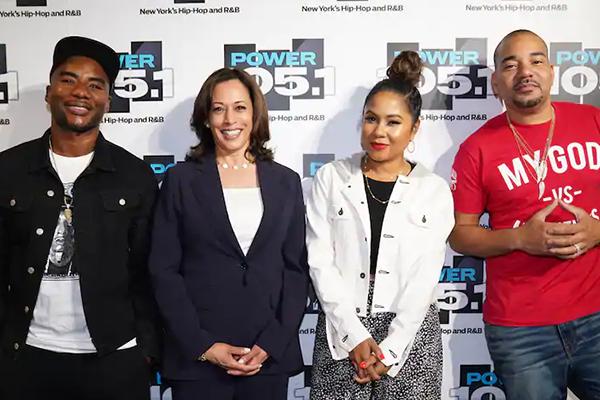 The Breakfast Club posing with Kamala Harris via Washington Post