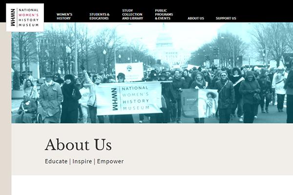 National Women's History Museum website screenshot.